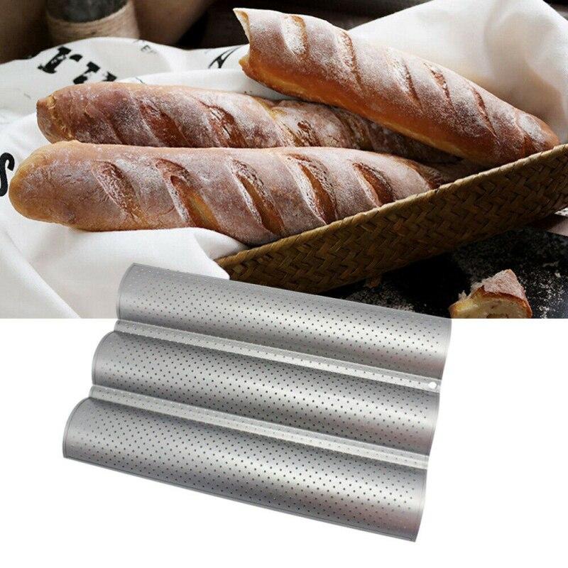 1PCS Welle Französisch Brot Backblech Nicht-Stick 3 Grid Silber Baguette Form Kuchen Toast Mold Küche Werkzeuge backformen Schnelle Lieferung