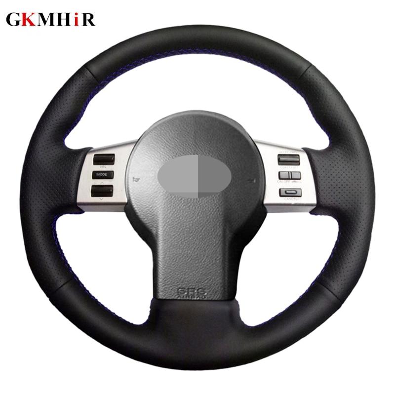 Funda de volante de coche cosida a mano de cuero genuino negro para Nissan 350Z 2003-2009 Infiniti FX FX35 FX45 2003-2008
