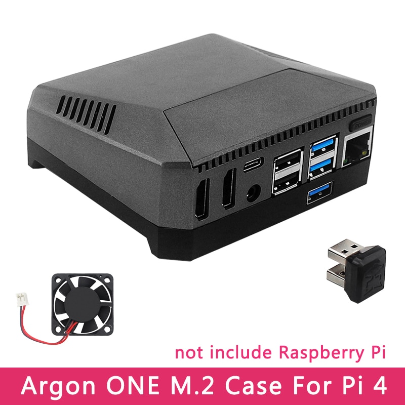 Argon ONE M.2 Case for Raspberry Pi 4 Model B M.2 SATA SSD to USB 3.0 Board Support UASP Built-in Fan Aluminum Case for RPI 4
