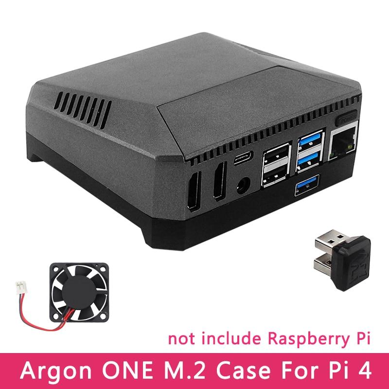 Argon ONE M.2-جراب Raspberry Pi 4 ، موديل B ، M.2 ، SATA ، SSD إلى USB 3.0 ، متوافق مع لوحة UASP ، مروحة مدمجة ، غلاف ألومنيوم لـ RPI 4
