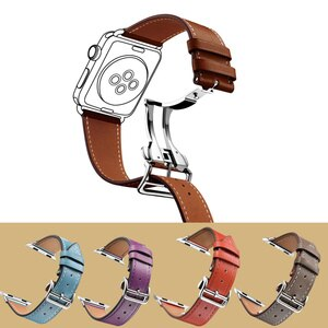 Fran-34K Suitable for Apple 38mm 40mm 42mm 44mm watch genuine leather strap for iwatch 6 5 4 3 SE folding buckle leather strap