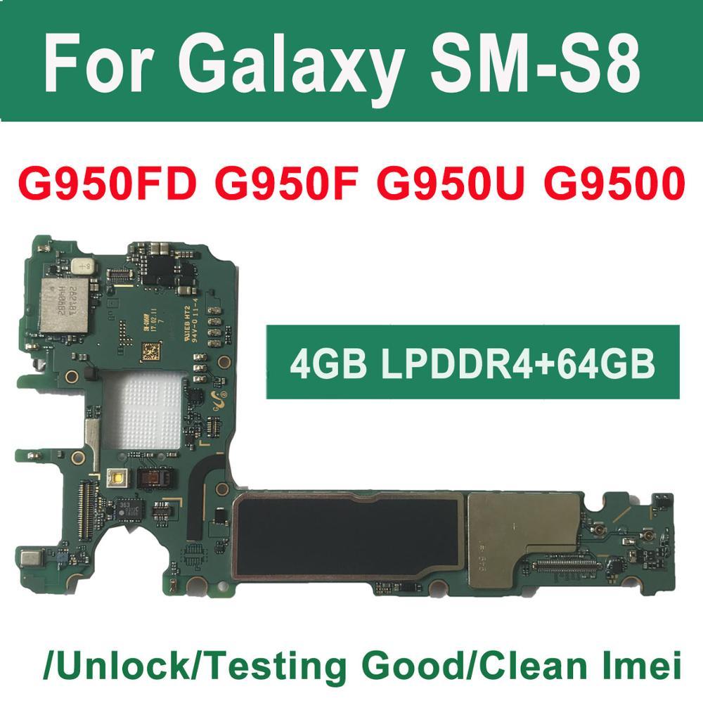 BINYEAE, placa base Original de 64GB para Samsung Galaxy S8 G950F G950FD G9500 G950U, placa base principal desbloqueada, IMEI knox 0*0