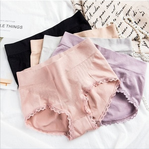 Solid Cotton Panties Soft Abdomen Briefs Mid Waist Sexy Lace Underwear For Women Lingerie Breathable Underpants Female Intimates
