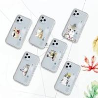 funny cartoon cat animal pattern phone case transparent for iphone 7 8 11 12 se 2020 mini pro x xs xr max plus