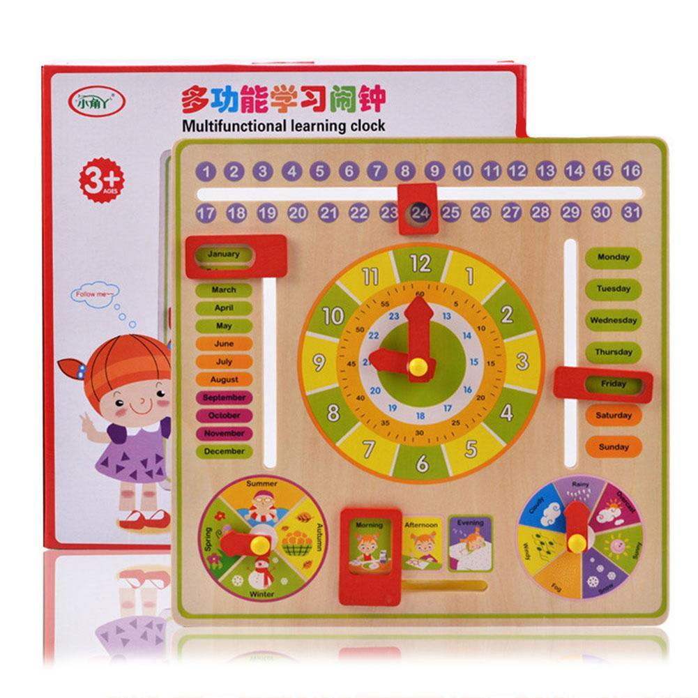 Kids Clock Clever Board Game Time Weather Season Cognition Learning Teaching Aids Wooden Montessori Educational Toy Kindergarten