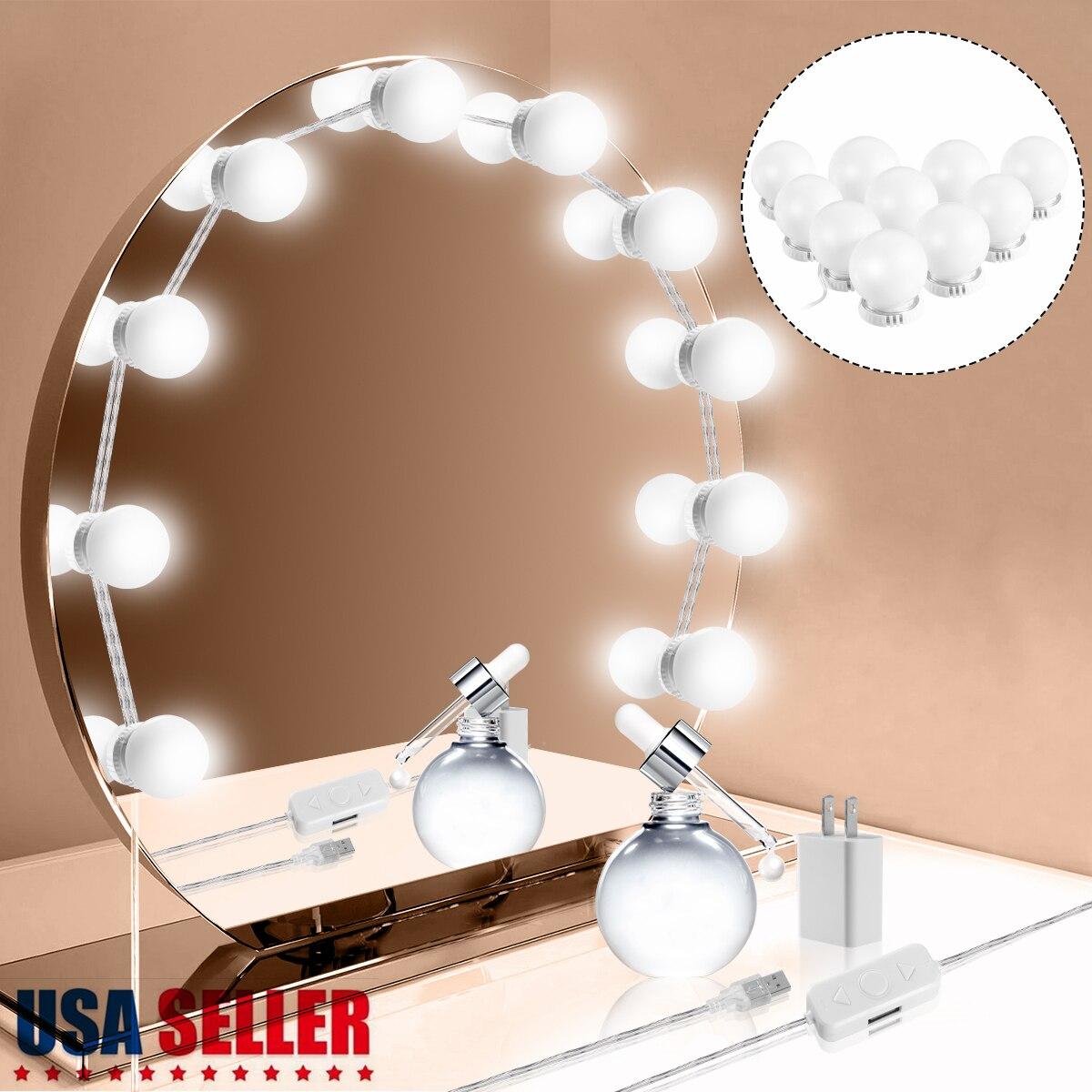 Luces DIY, cadena táctil, atenuador, 10 LEDs, Kit de luces de espejo de tocador suave regulable, adaptador de EE. UU. Para espejo de maquillaje profesional