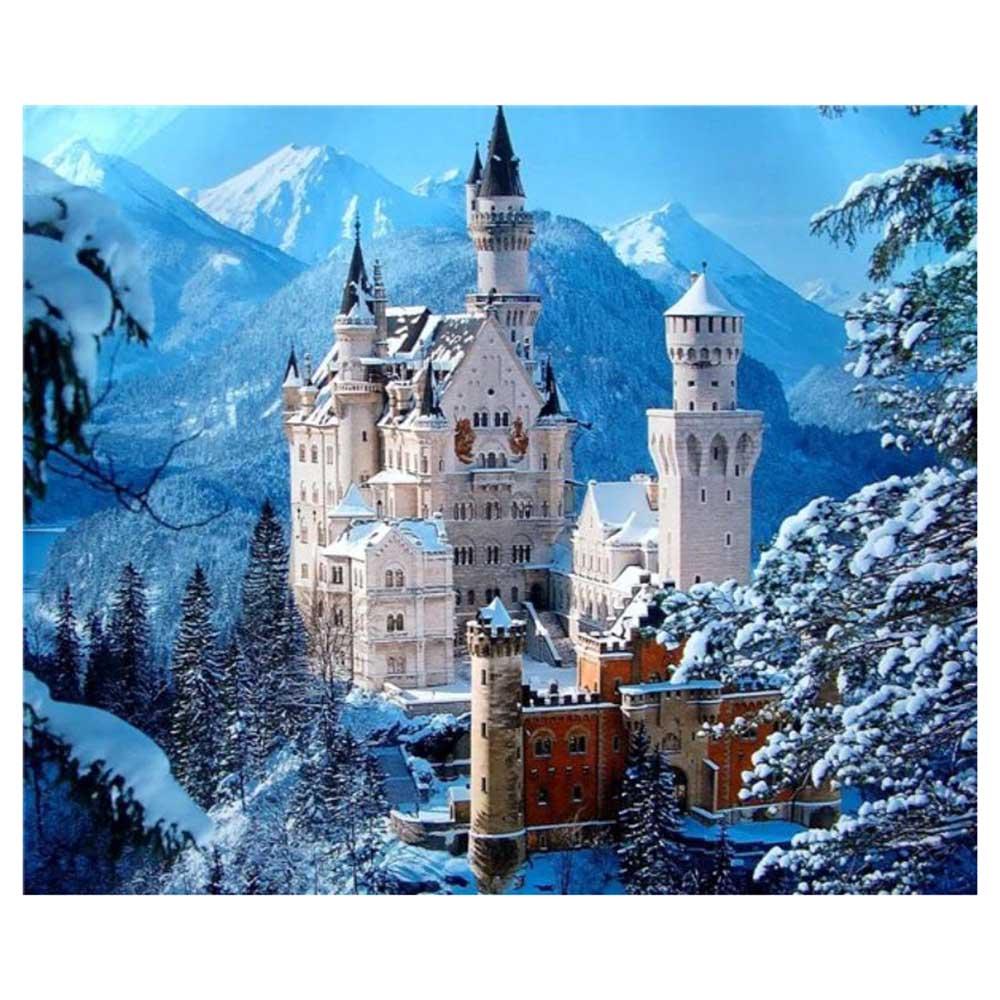 """Taladro cuadrado/redondo 5D DIY pintura de diamante """"Castillo de la montaña de la nieve"""" 3D diamante bordado mosaico punto de cruz decoración del hogar regalo"""
