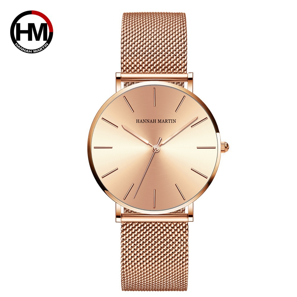 36mm Dial Simple Design Classic Women Full Rose Gold Stainless Steel Mesh Female Japan Quartz Casual