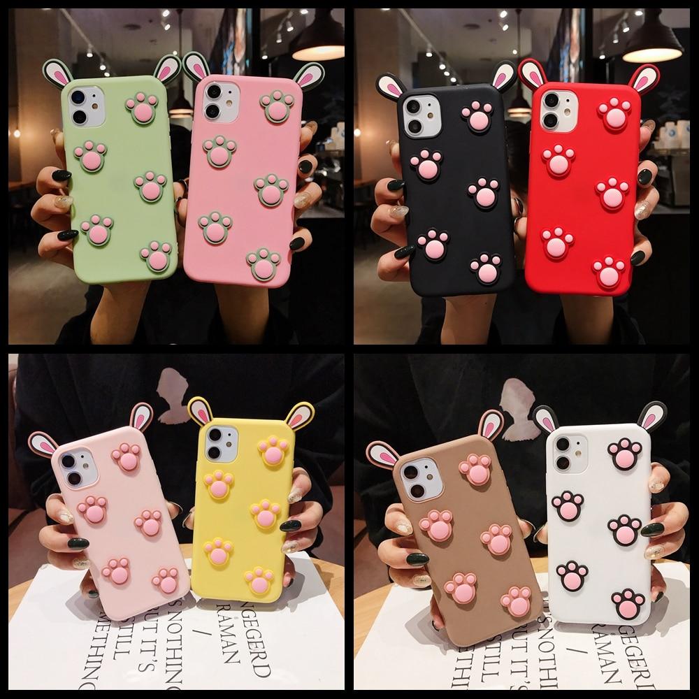 Para estuche Samsung A01 A11 A51 A71 caso Galaxy A51 A21S Kawaii 3D oreja de gato de la pata de la cubierta del teléfono para Samsung A31 A41 M11 M21 caso chica
