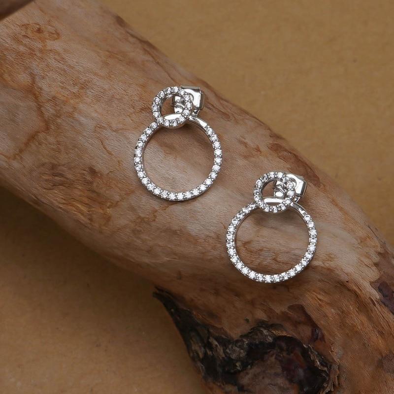 Micro effen zirkoon voor- en achterkant cirkel oorknopjes voor - Mode-sieraden - Foto 3