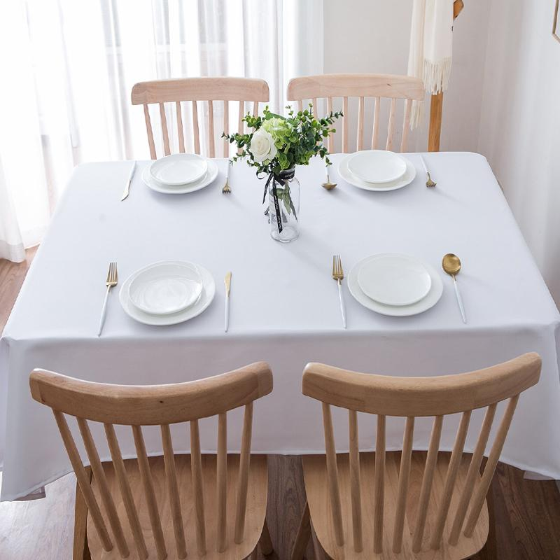 Mantel de mesa blanco de 20 colores, mantel de moda para comedor, cubierta de mesa Lisa para mesa rectangular en tela