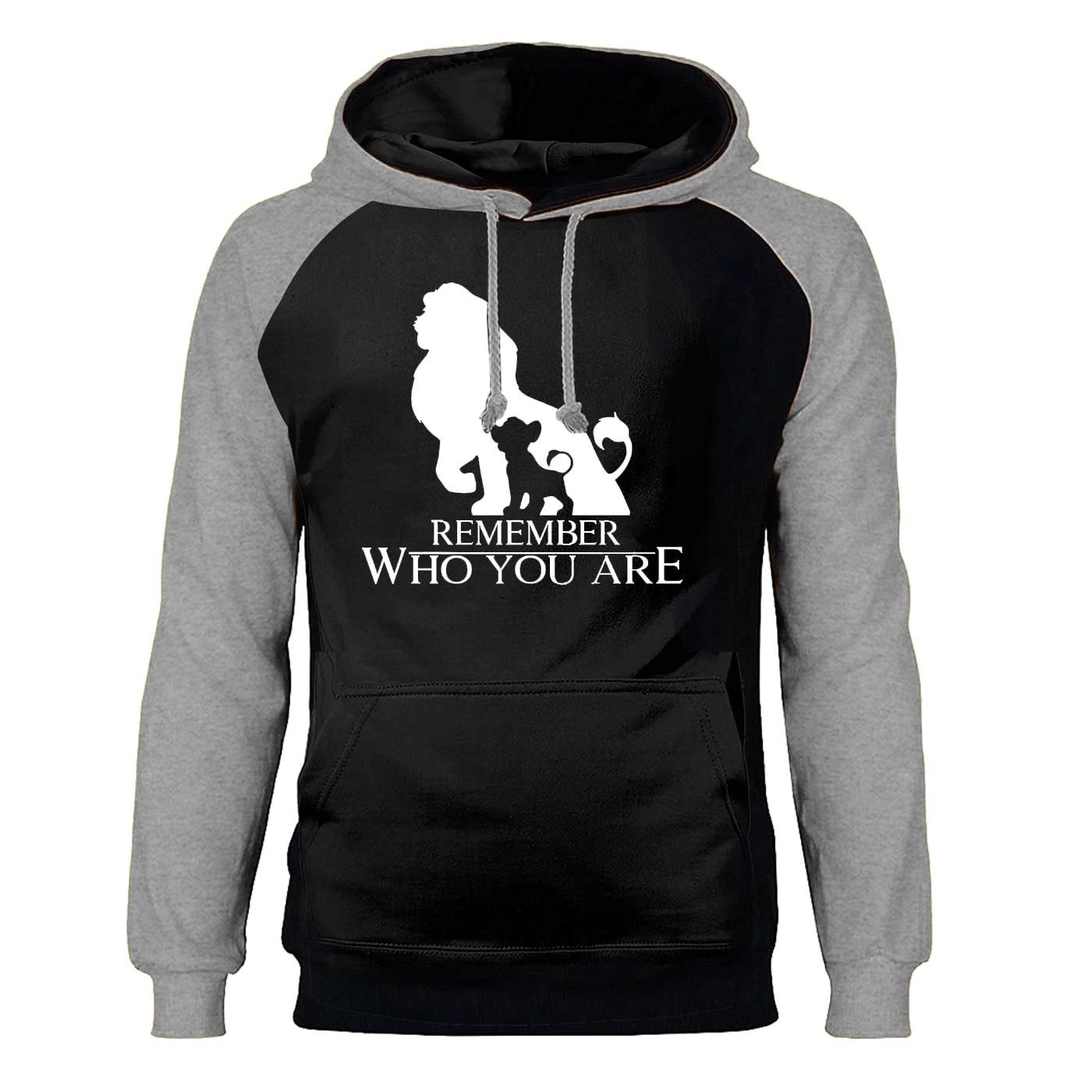 The Lion King Hoodies Men Remember Who You Are Simba Raglan Hooded Sweatshirts Winter Autumn Fleece Warm Cartoon Sportswear Mens