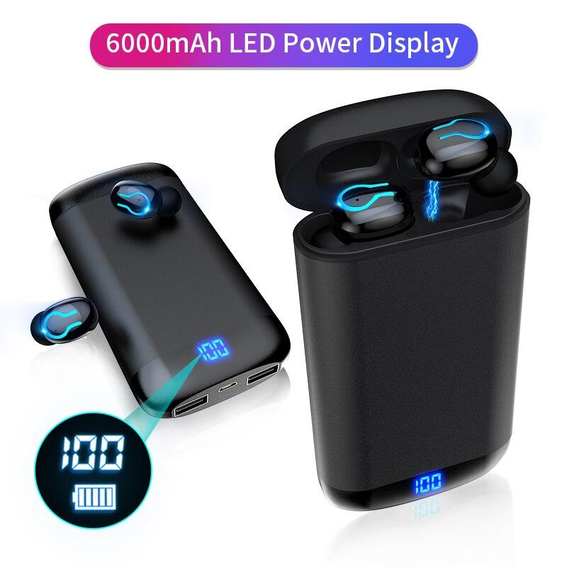 6000mAh funda de carga de batería inalámbrica Bluetooth 5,0 auriculares HD estéreo auriculares deportivos a prueba de agua con micrófono Dual