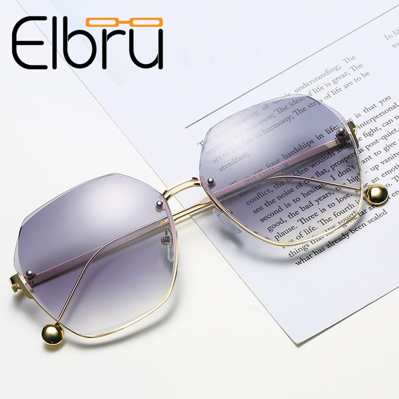 Elbru Fashion Tea Gradient Sunglasses Women Ocean Water Cut Trimmed Lens Metal Frame Sun Glasses Cla