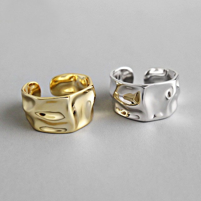 AliExpress - Real 925 sterling silver finger rings for women 2 layred gold colors Trendy fine Jewelry Large Adjustable Antique Rings Anillos