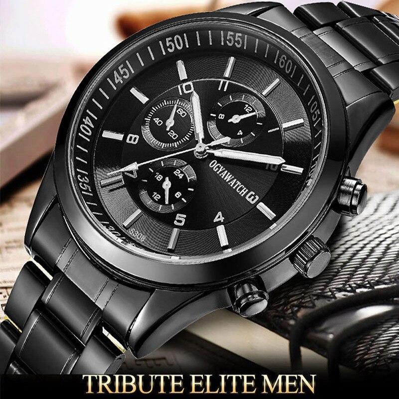 OGY hommes montres haut de gamme Sport montre à Quartz plein acier mâle horloge étanche montre-bracelet Relogio Masculino
