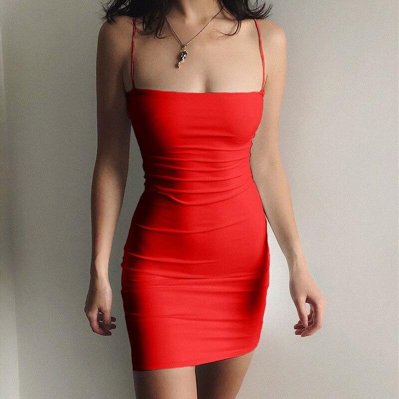 Vestido corto femenino de verano sin mangas, minivestido Sexy para mujer, color negro, 2021