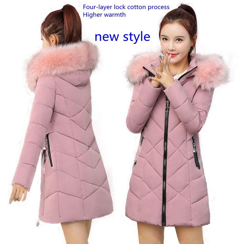 Женская хлопковая куртка средней длины, приталенная плотная куртка средней длины с большим меховым воротником, модная куртка с капюшоном и ...