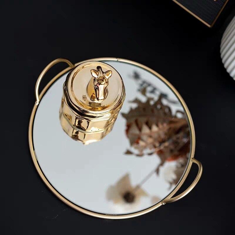 النحاس مقبض صينية تخزين مرآة الزجاج والمجوهرات صينية العرض الذواقة الصورة لوحة الحرف هدية غرفة المعيشة المنزلي الزينة