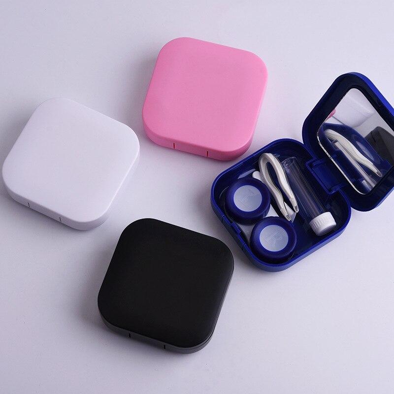 1 ud. Nuevo estuche para gafas de contacto de plástico sólido Kit de cuidado de ojos contenedor de regalo portátil de viaje Sifang superficie lisa Accesorios