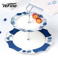 YeFine Bone China Double-Layer Dishes And Plates Set Snack Stand Holder Luxury Porcelain Cake Pastry Fruit Dish Ceramic Tray