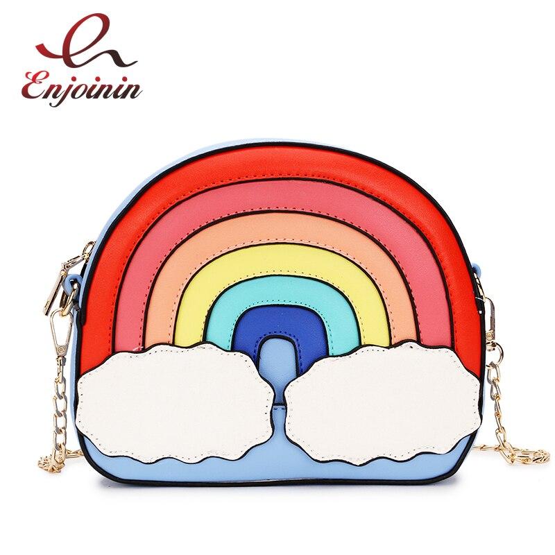 Diversión de moda diseño de arco iris color de costura lindo casual damas Cadena, monedero, bolso de hombro, bolso bandolera cruzada