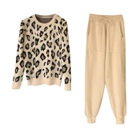 casual tracksuit streetwear leopard printed knit two peice suit women long sleeve o neck sweater tops solid color harem pants