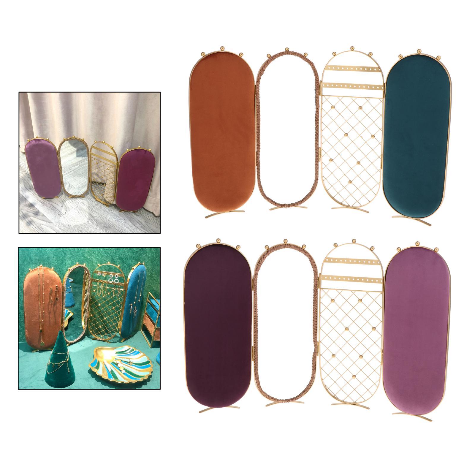 Jewelry Shelf Foldable Necklaces Hanging Holder Organizer Mirror Home Decor