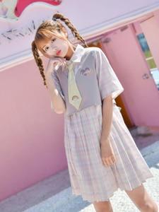 New Pink JK Uniform OP Cute Girl Lolita Dress Kawaii Cartoon Embroidery Plaid Pleated Dress School Suit Cosplay Costume Lady