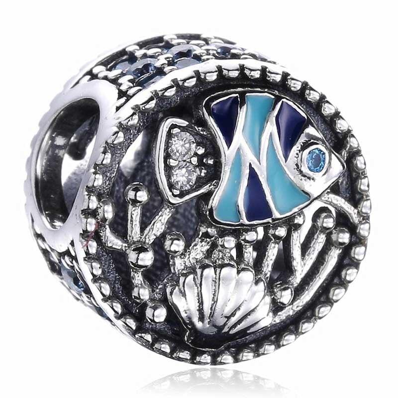 Abalorio de cuenta en plata esterlina 925 auténtico con forma de concha de pescado y cuentas de plantas compatible con pulsera Pandora, brazalete, joyería DIY