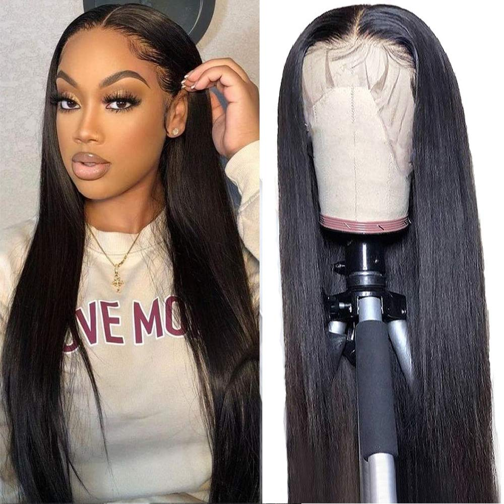 30 inch Straight Lace Front Human Hair Wigs Pre Plucked Brazilian Lace Front Wig 180% HD Lace Frontal Wig 4x4 Closure Wig Remy
