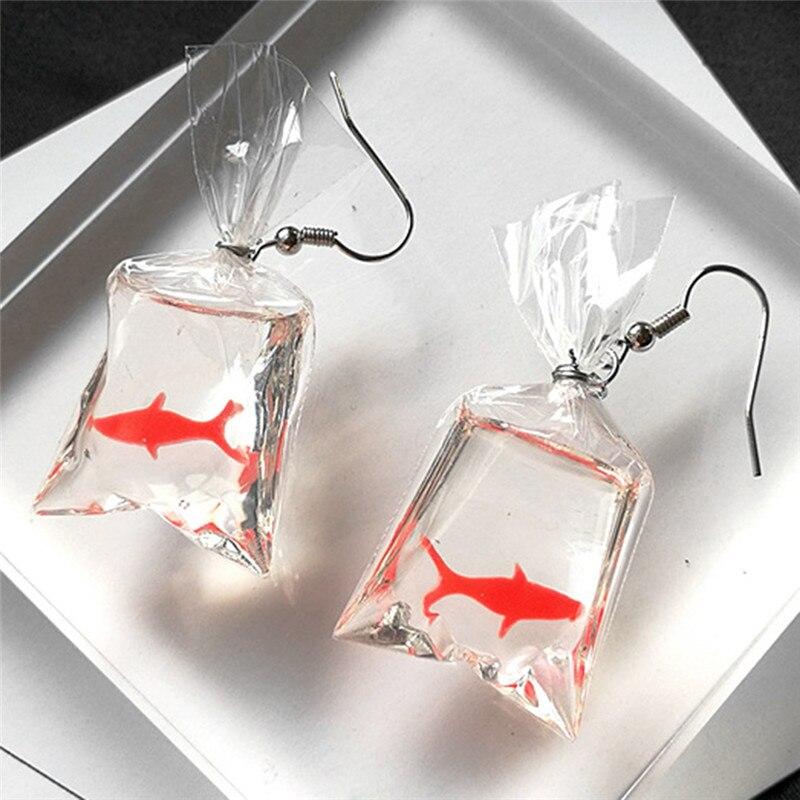 hot! Fancy Cute Koi Fish Water Bag Dangle Earrings For Women New Trendy Girls Brincos Anti Allergy Graceful Joker Eardrop