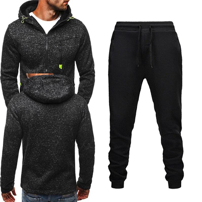 Мужской повседневный костюм, спортивная одежда для бега, толстовка на молнии, штаны, костюм из 2 предметов, мужская спортивная одежда, спорти...