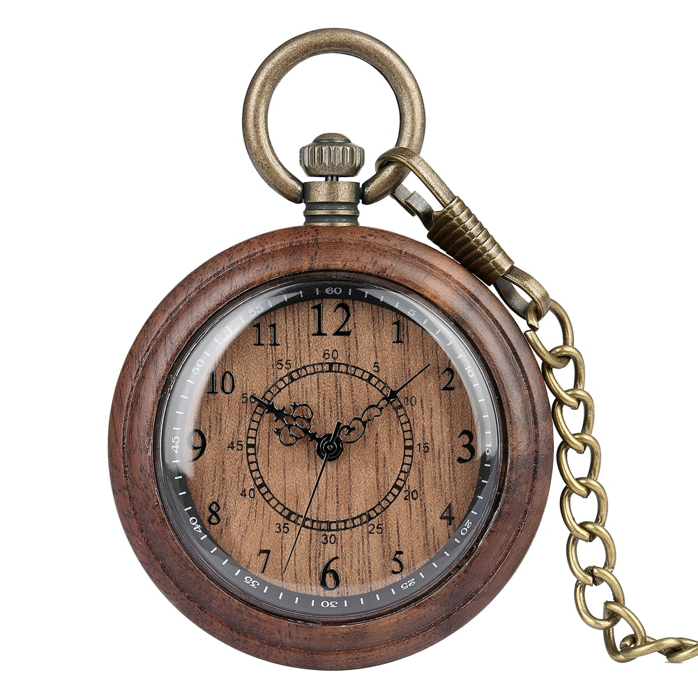 Wooden Case Pocket Watch for Men Exquisite Arabic Numerals Dial Accessory Classic Rough Chain Pendant Clock Reloj de madera color diamond case cover pocket watch girls sailor moon dial for female fancy red moon pendant clock accessory relogio de bolso