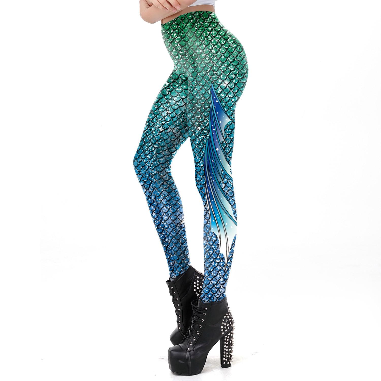 Womens Printed High Waist Yoga Pants Halloween Shiny Fish Scale Mermaid Leggings Holographic