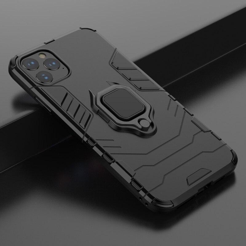 Para iphone 11 Pro MAX X XR Xs SE2 funda anillo soporte magnético PC armadura estuche tpu mate para iphone 7 8 6s Plus funda trasera de silicona
