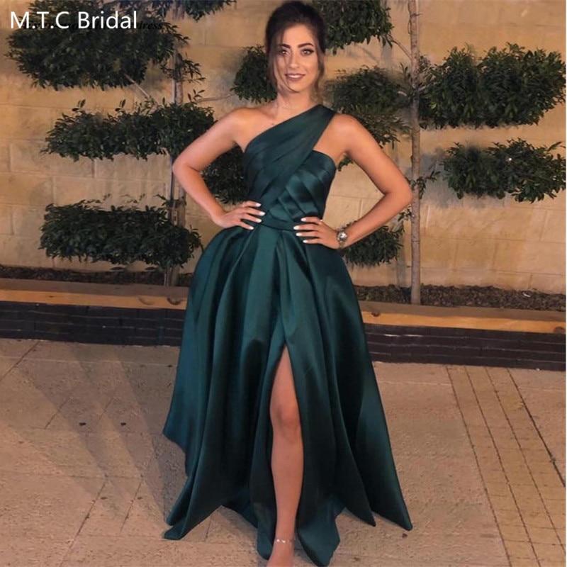 Verde oscuro un hombro Sexy vestidos de graduación con pliegue en hendidura satinado una línea Medio Oriente largo mujeres boda invitado vestido de talla grande