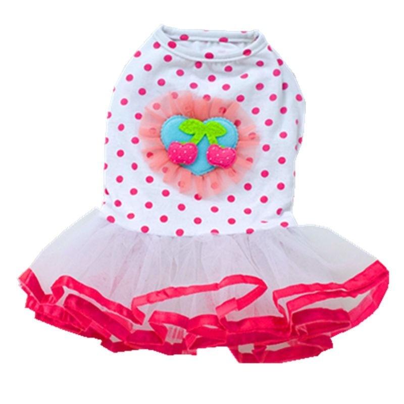 Ropa para mascotas, vestido con tutú de cereza para ropa para Perro pequeña, disfraz con dibujo de Bulldog Francés Dot Dogs, bonito Collar de niña rosa de verano