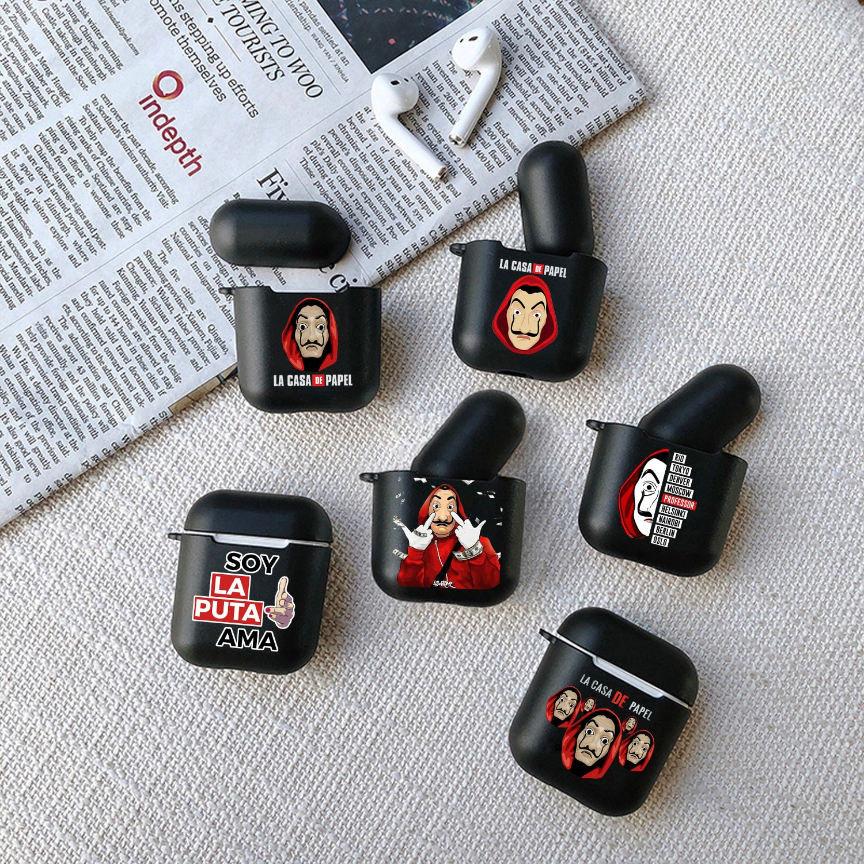 Funda negra mate De silicona para Apple airpods 1 2, accesorios inalámbricos para auriculares, fundas Airpod para La Casa De Papel