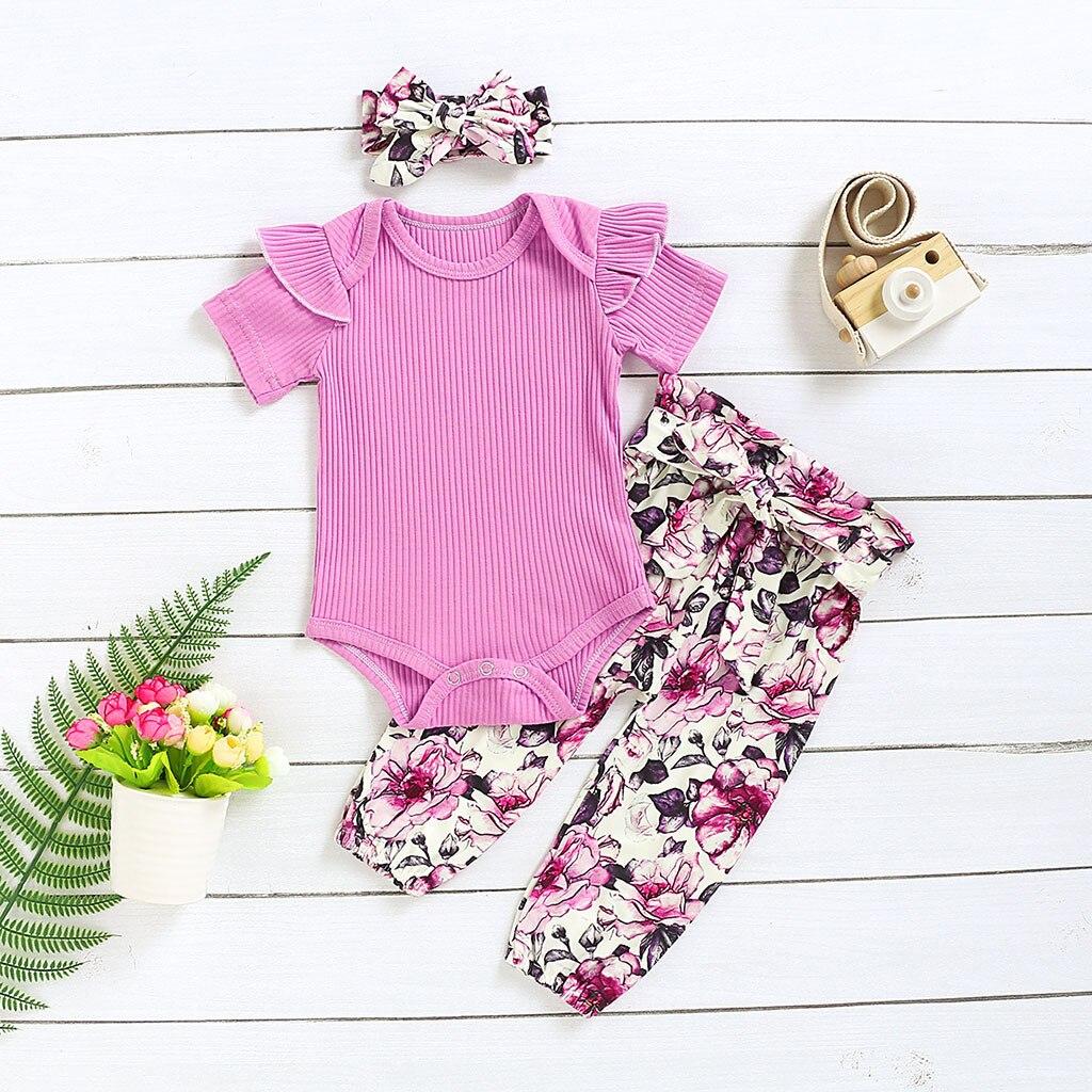 Newborn Baby girl clothes ropa niña одежда для новорожденных Stripe Chambray Romper Print Pants Hairband Outfits