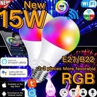 Ampoule LED RGB intelligente  15W E27  2 4G  wi-fi ou telecommande IR  lampe dautomatisation  fonctionne avec Google Home  Alexa  Assistant Siri