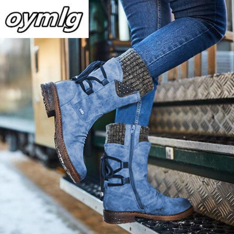 2020 Women Winter Mid-Calf Boot Flock Winter Shoes Ladies Fashion Snow Boots Shoes Thigh High Suede Warm Botas Zapatos De Mujer snow boots women shoes 2020 warm plush waterproof casual shoes woman mid calf winter platform shoes women boots zapatos de mujer