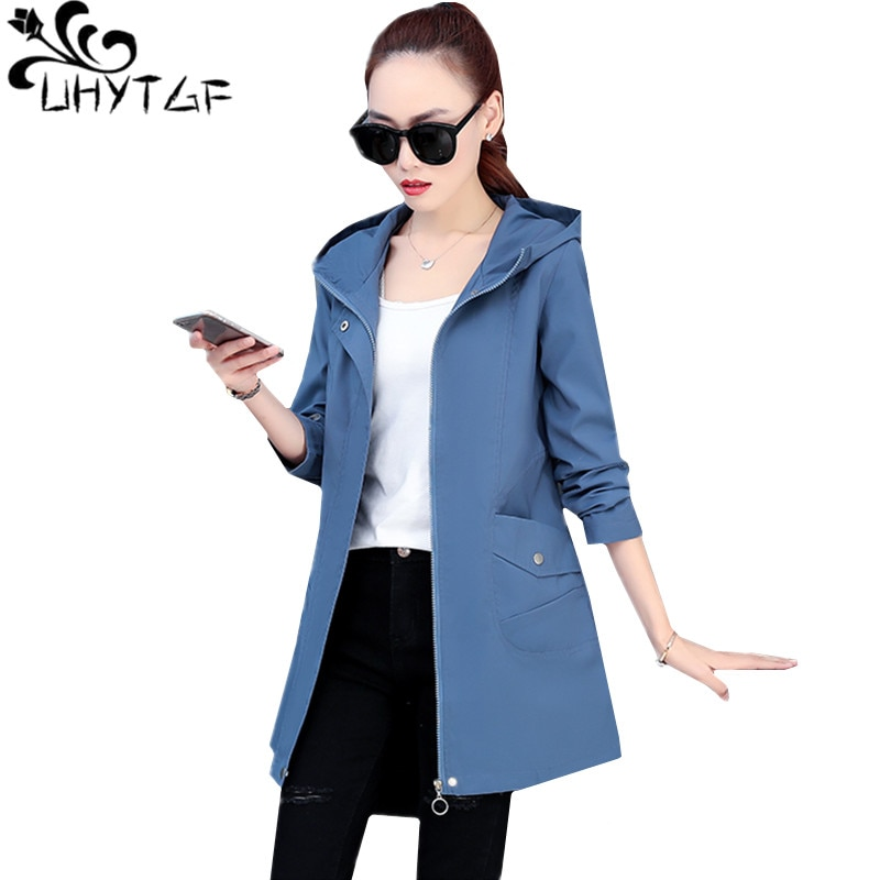 UHYTGF Women spring trench coat fashion hooded casual student coat Mid-length zipper loose 4XL plus