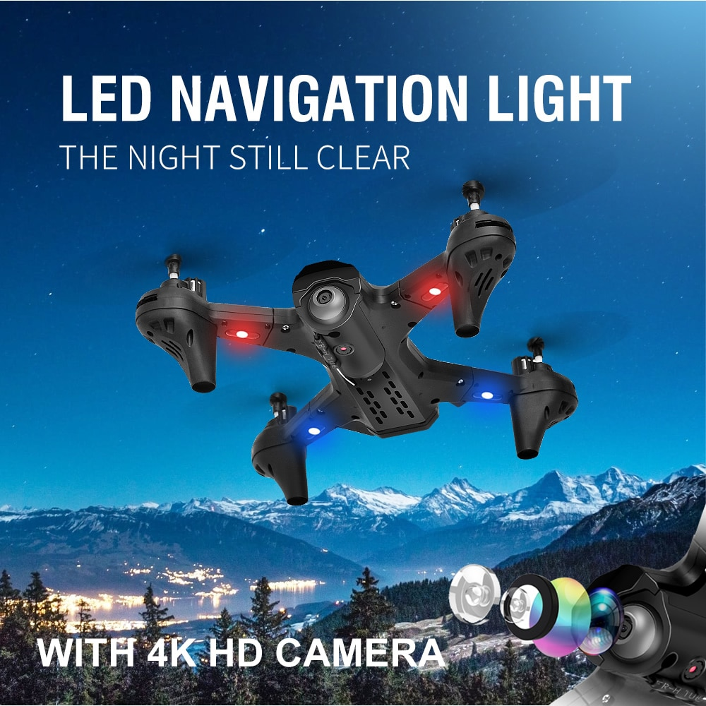 LS-TUT Black Folding Quadcopter Long Voyage Aerial Photography Drone 4k HD Dual Camera Mini UAV Remote Control Helicopter Toy enlarge