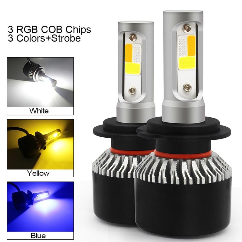 2 шт. автомобильные светодиодный ные лампы Canbus H7 H1 светодиодный ные лампы H4 H8 H11 HB3 9005 HB4 9006 H13 H3 9007 Автомобильные противотуманные лампы 12 В 3 цве...
