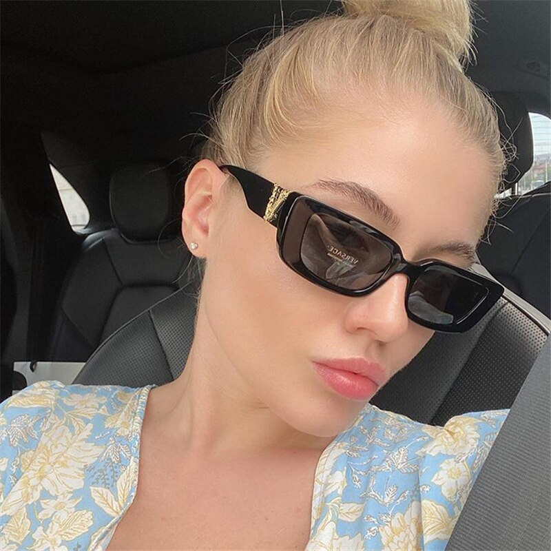 2020 new cat eye sunglasses fashion square small frame ladies sunglasses gradient color V-shaped glasses frame UV400 gold frame pink cat eye stylish sunglasses