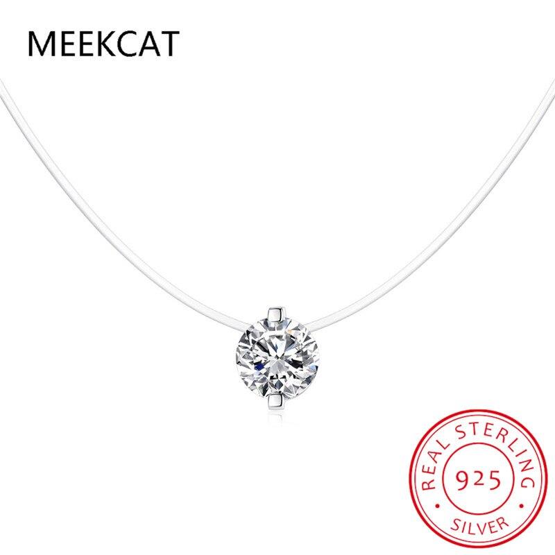 meekcat-925-Серебряная-невидимая-подвеска-на-цепочке-Ожерелье-Стразы-ожерелья-Чокеры-прозрачная-рыболовная-леска-женское-колье-scn332