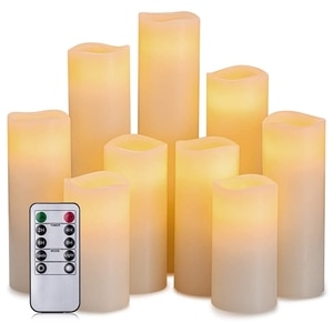 9Pcs Flameless Electronic Candle Soft Flashing LED Candle with 10 Key Remote Control