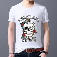mens t shirt classic cartoon round neck gothic skull cobra series top youth breathable casual comfortable t shirt short sleeve