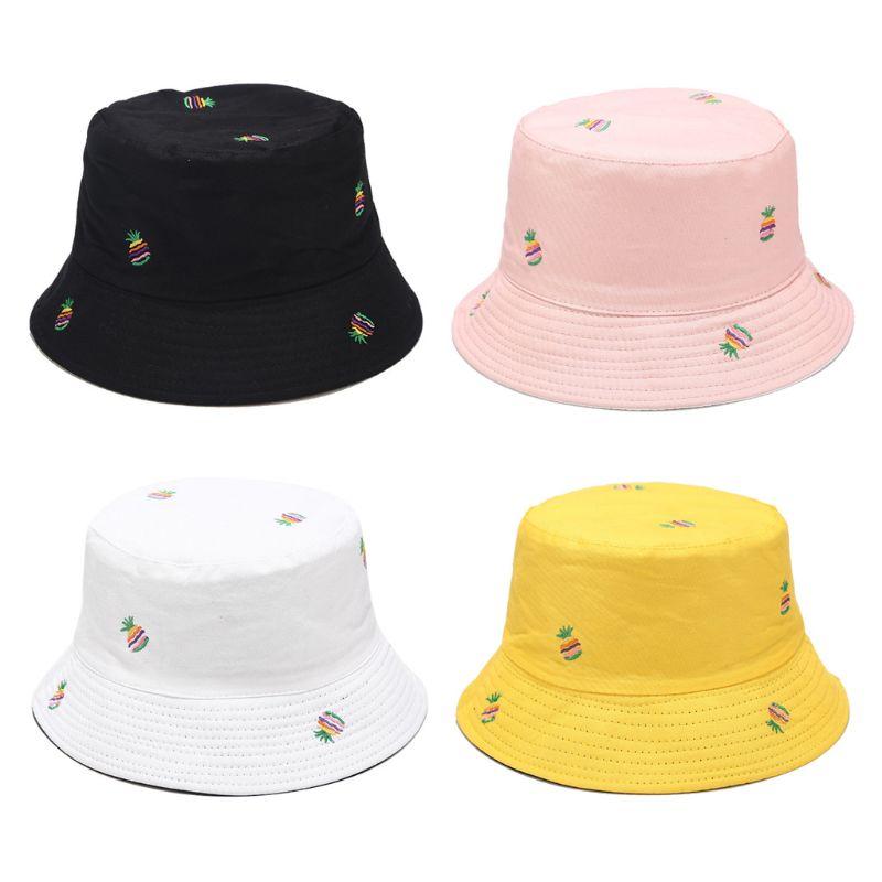 Chapéu de balde tropical feminino arco-íris abacaxi bordado boné de pescador reversível y1qd